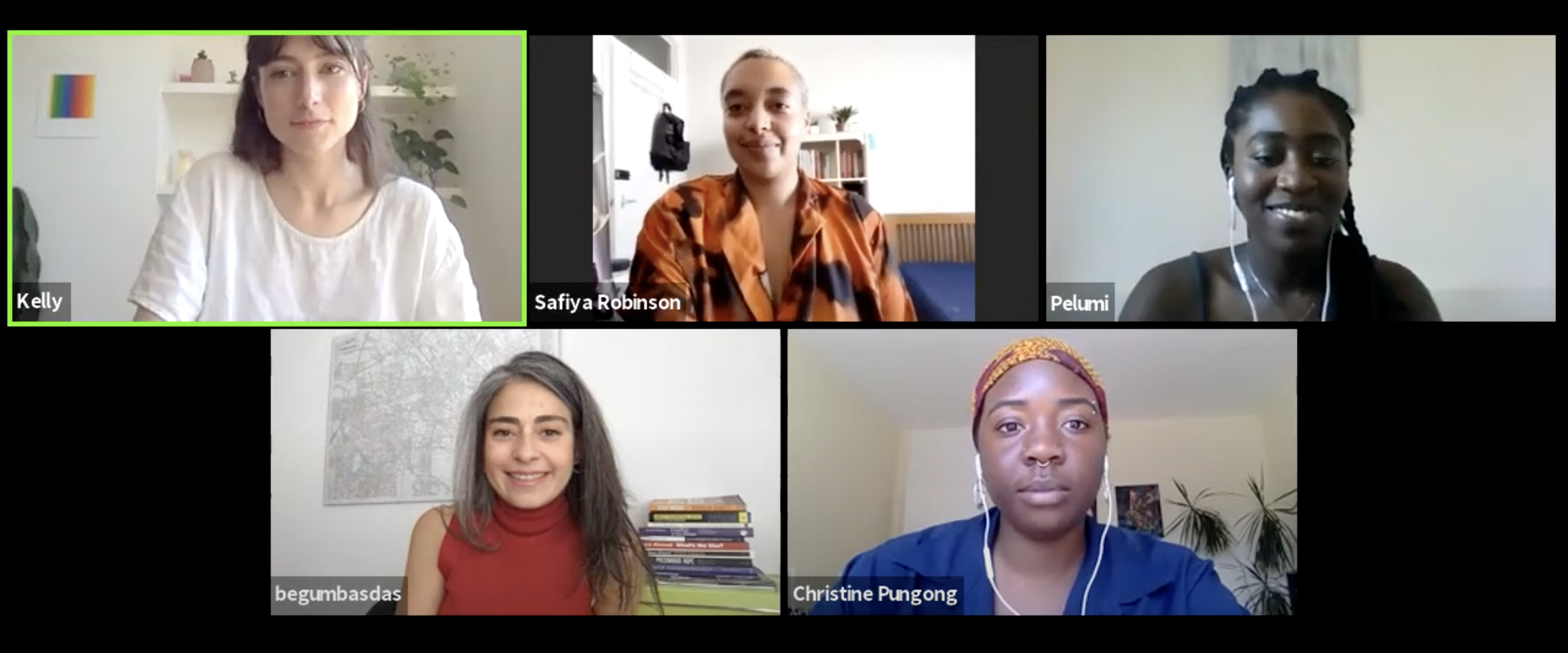 five participants in the live panel discussion on radical care in the pandemic