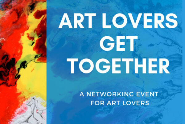 Art lovers get together colourful poster