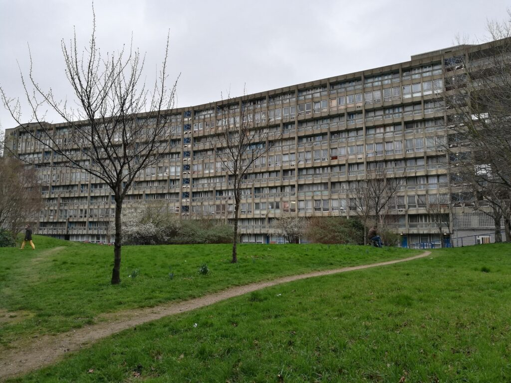 two horizontal concrete housing blocks designed by Alison and Peter Smithson in London
