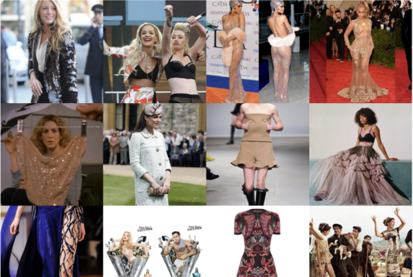 grid of celebrities and models wearing different types of clothes