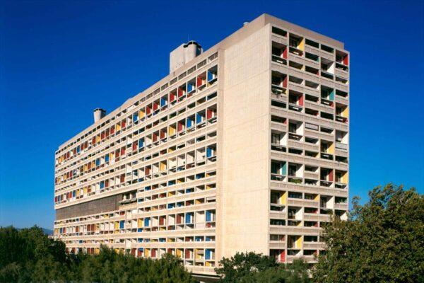 concrete apartment buildings with colourful façades built by Le Corbusier