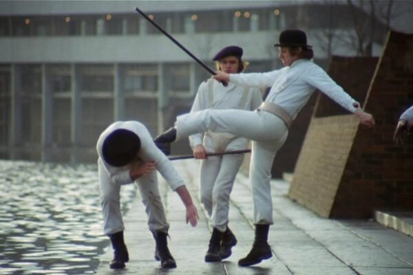 Scene from Stanley Kubrick's A Clockwork Orange where Alex throws his droogs into Southmere lake