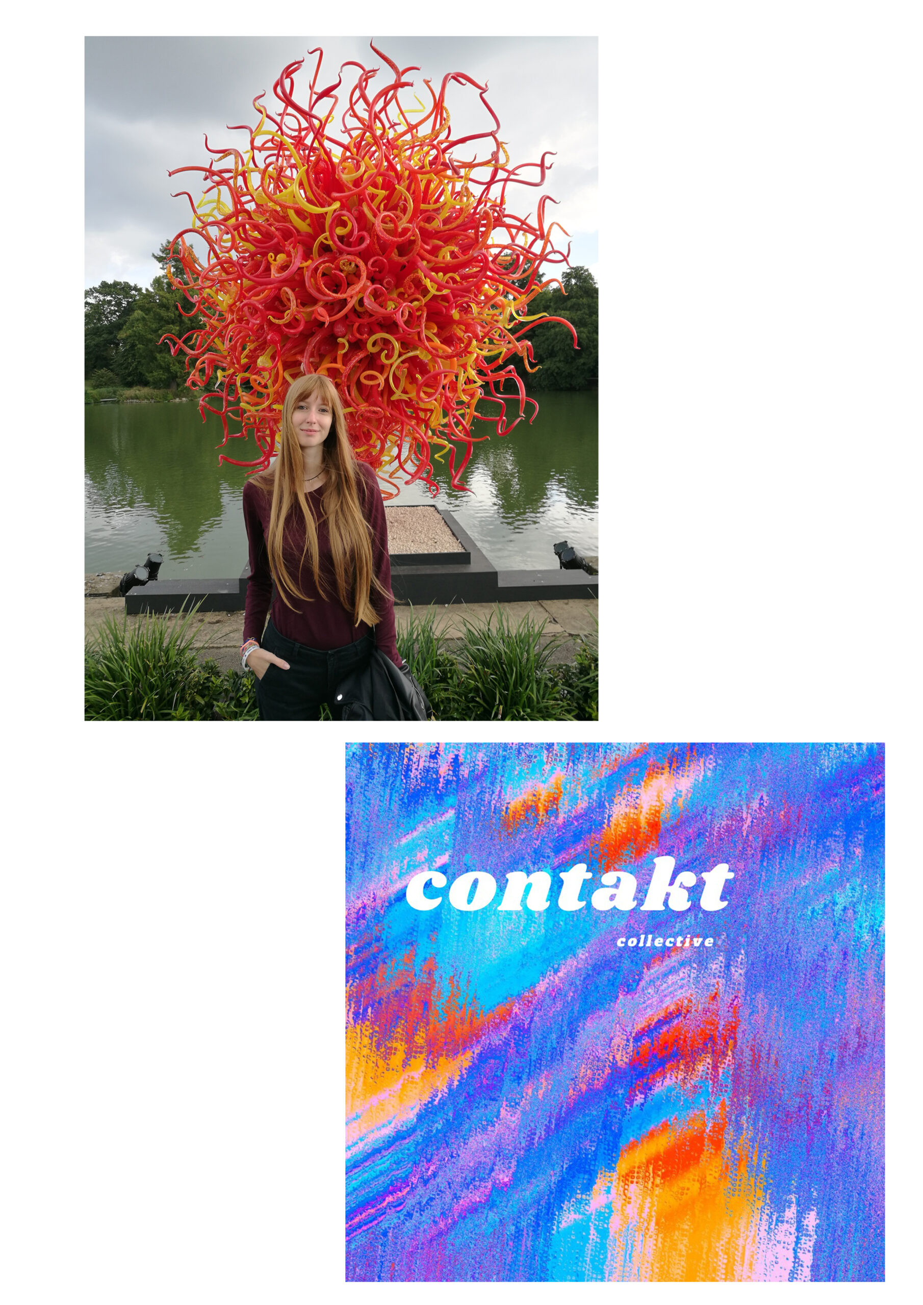 Cristina Ricci in front of Chihuly's sculpture and Contakt Collective logo