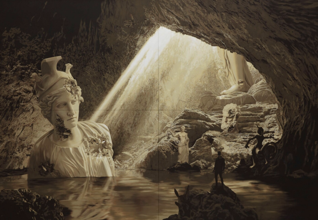 sepia tonality painting of a cave with Pokémon and classical sculptures