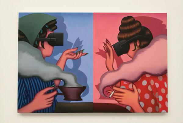 two women wearing virtual reality headsets