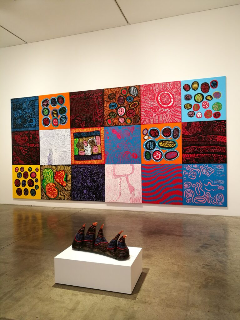 colourful paintings and sculptures by Yayoi Kusama
