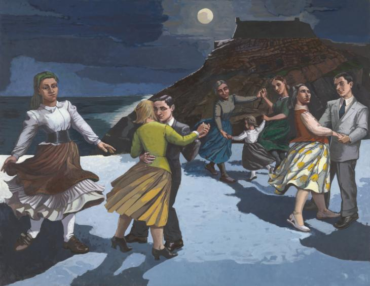 painting about a group of people dancing in the night